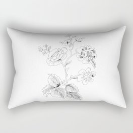 black-and-white arrangement of flowers and leaves Rectangular Pillow