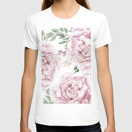 Girly Pastel Pink Roses Garden T-shirt