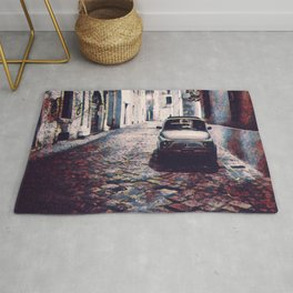Classic Car in Back Street of Italy Rug