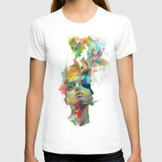 Dream Theory Womens Fitted Tee SMALL White