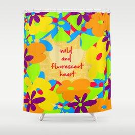 Wild and fluorescent heart Shower Curtain