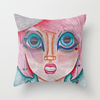 poker Throw Pillows featuring poker face by Scenccentric Creations