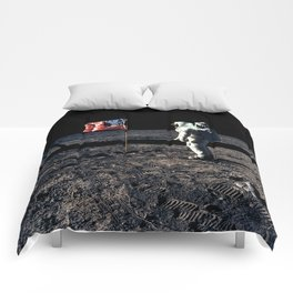Buzz Aldrin and the U.S. Flag on the Moon Comforters
