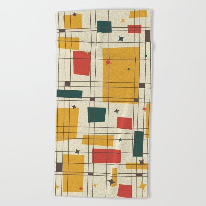 Mid-Century Modern (gold) Beach Towel