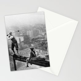 Tough Par Four - Golf Game at 1000 feet black and white photograph Stationery Cards
