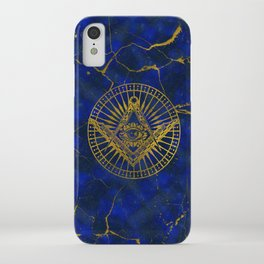 All Seeing Mystic Eye in Masonic Compass on Lapis Lazuli iPhone Case