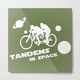 Tandems in Space in Green Metal Print
