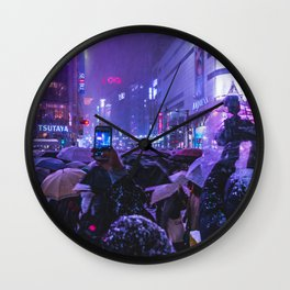 Instagrammers life in Shibuyacrossing at Snowy Night Wall Clock