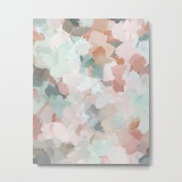 Blush Pink Mint Green Blue Coral Peach Abstract Flower Wall Art Springtime Painting Modern Wall Art Metal Print