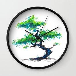 Blue Bonsai Wall Clock