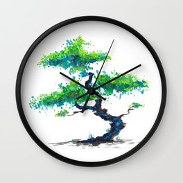 Blue Bonsai Wall Clock