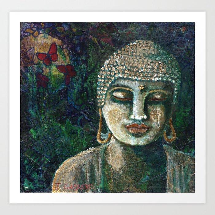 Buddha and Butterfly Art Print