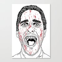 american psycho Canvas Prints featuring American Psycho. by Saul Art