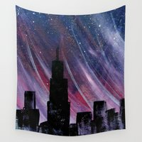chicago Wall Tapestries featuring Chicago by Tesseract