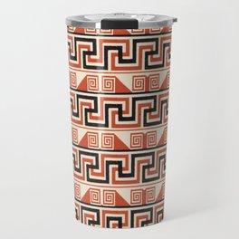 Vintage Tribal Pattern in Bold Orange, Black and Tan Travel Mug