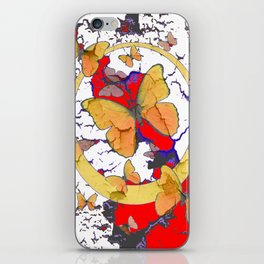 YELLOW  BUTTERFLIES IN WHITE & RED ABSTRACT iPhone Skin