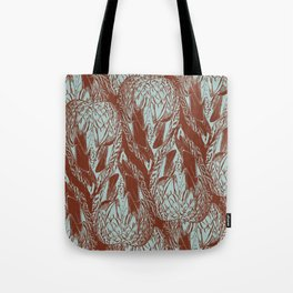 Duck Feather Back Graphic Teal and Brown Tile Tote Bag