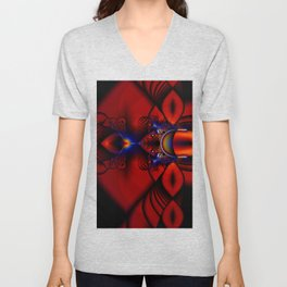 Ruby Abstract Stained Glass Window Unisex V-Neck