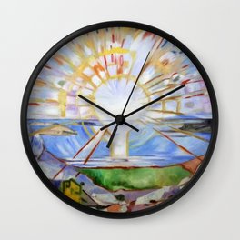The Brilliance of Red Sunrise coastal nautical landscape painting by Edvard Munch Wall Clock
