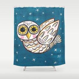 White Owl in Flight Shower Curtain