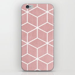 Blush Pink and White - Geometric Textured Cube Design iPhone Skin