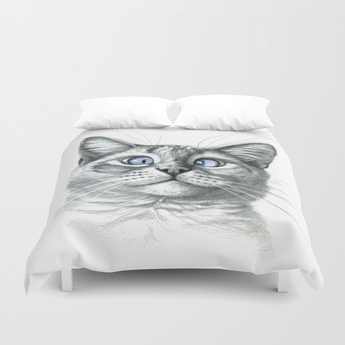 Cross Eyed cat G122 Duvet Cover