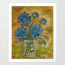 Jar of Cornflowers Art Print