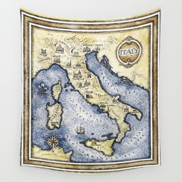 Vintage map of Italy Wall Tapestry