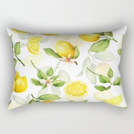 mediterranean summer lemon branches on white Rectangular Pillow