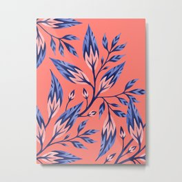 Frondescence - Coral / Blue Metal Print