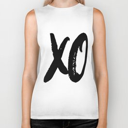 XO Hugs and Kisses Black & White Minimalist Biker Tank