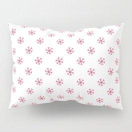 Crimson Red on White Snowflakes Pillow Sham