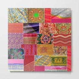 Boho Sari Patchwork Quilt Metal Print