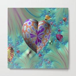 FRACTAL HEARTS Metal Print