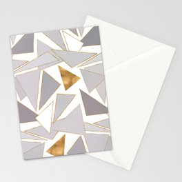 Modern Minimalist Gold Strokes Gray Triangles Stationery Cards