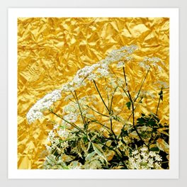GOLDEN LACE FLOWERS FROM SOCIETY6 BY SHARLESART. Art Print