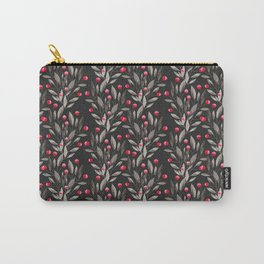 Modern pink red gray watercolor leaves berries pattern Carry-All Pouch
