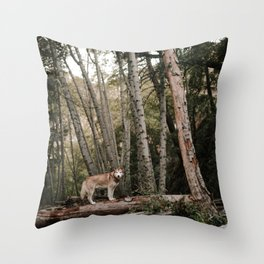 Husky in Forest Throw Pillow