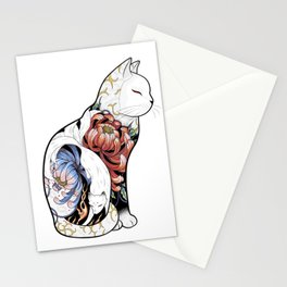 Kitsune Cat Tattoo Stationery Cards