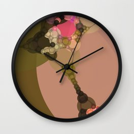 rosetta - abstract design of rose pink chocolate brown tan beige green Wall Clock