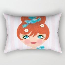 Bluebirds Alight On A Lovely Lady Rectangular Pillow