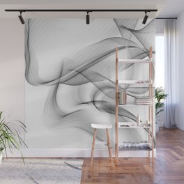 Minimal black and white smoky flux in motion #abstractart #decor Wall Mural