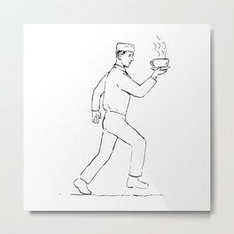 Retro Waiter Running Serving Coffee Drawing Metal Print