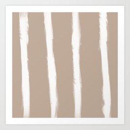 Medium Brush Strokes Vertical Off White on Nude Art Print