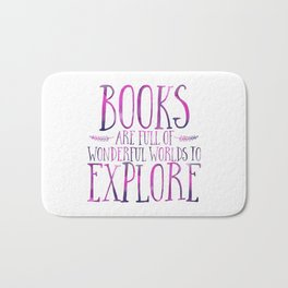 Books Are Full of Wonderful Worlds to Explore - Purple Bath Mat