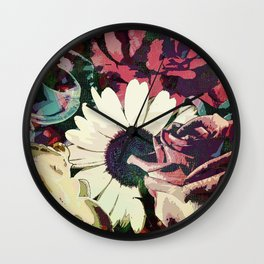 Daisy among Roses Wall Clock