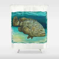 biology Shower Curtains featuring Goliath Grouper ~ Watercolor by Amber Marine