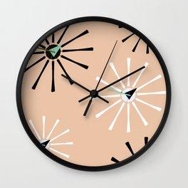 Fifties Kitchen Peach Pattern Wall Clock