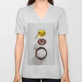 Salt, pepper and olive oil on a wooden board Unisex V-Neck
