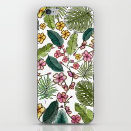 Botanical joy on white iPhone Skin